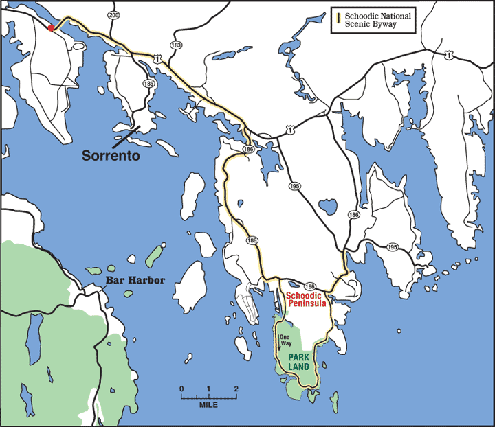 Location map of Sorrento, Maine