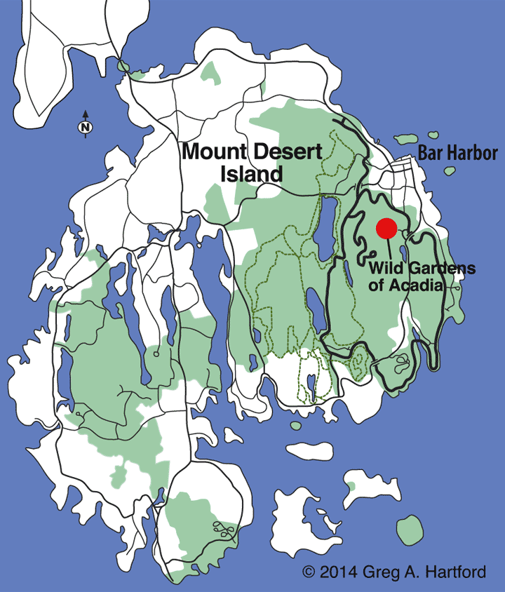 Location map of Wild Gardens of Acadia