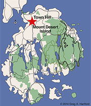 Location of Town Hill on in Bar Harbor
