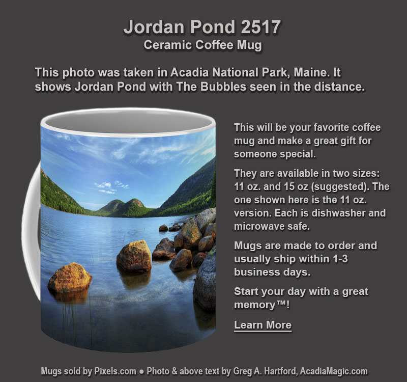 Coffee Mug with photo of Jordan Pond in Acadia