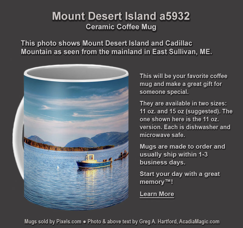 Coffee Mug with photo of Mount Desert Island and Cadillac Mountain