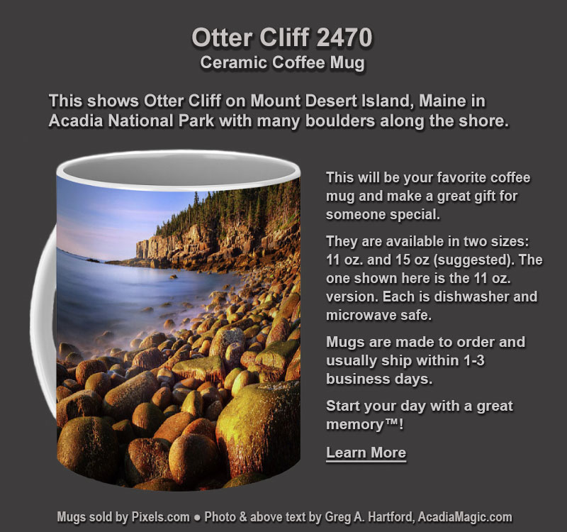 Coffee Mug with photo of Otter Cliff in Acadia