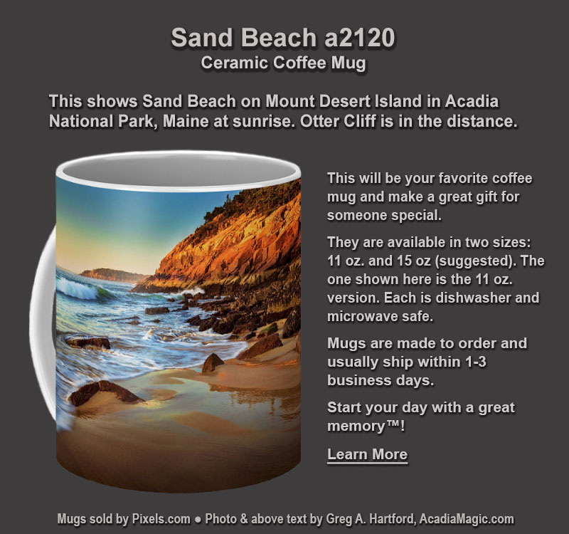 Coffee Mug with photo of Sand Beach in Acadia